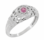 Art Deco Filigree Pink Sapphire Ring in Platinum