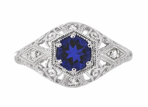 Blue Sapphire and Diamonds Scroll Dome Edwardian Filigree Engagement Ring in 14K White Gold - Item R234 - Image 1