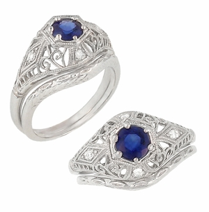Blue Sapphire and Diamonds Scroll Dome Edwardian Filigree Engagement Ring in 14 Karat White Gold - Click to enlarge