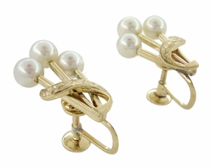 Vintage Mikimoto Pearl Cluster Earrings in 14 Karat Yellow Gold - Click to enlarge
