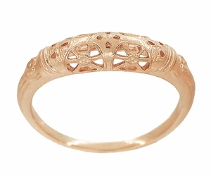 Art Deco Filigree Wedding Ring in 14 Karat Rose Gold - Item WR428R - Image 1