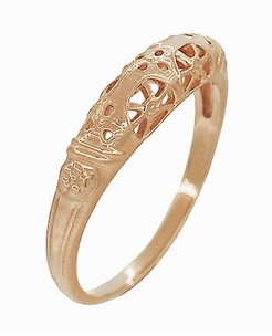 Art Deco Filigree Wedding Ring in 14 Karat Rose Gold - Item WR428R - Image 2