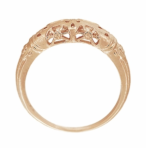 Art Deco Filigree Wedding Ring in 14 Karat Rose Gold - Item WR428R - Image 4