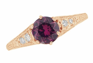 Raspberry Rhodolite Garnet and Diamond Filigree Engagement Ring in 14 Karat Rose ( Pink ) Gold - Click to enlarge