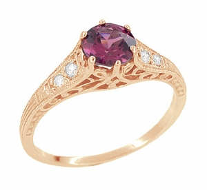 Raspberry Rhodolite Garnet and Diamond Filigree Engagement Ring in 14 Karat Rose ( Pink ) Gold - Item R158GPG - Image 3