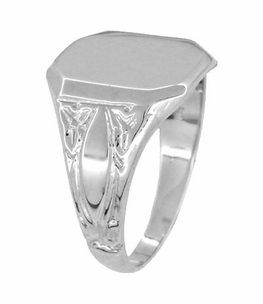 Rectangular Victorian Signet Ring in 14 Karat White Gold - Item MR119W - Image 1