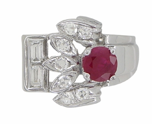 Antique Retro Moderne Ruby Ring in 14 Karat White Gold - Click to enlarge