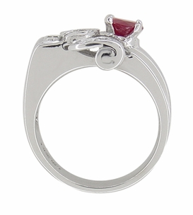 Antique Retro Moderne Ruby Ring in 14 Karat White Gold - Item R1148 - Image 2