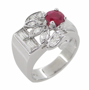 Antique Retro Moderne Ruby Ring in 14 Karat White Gold - Item R1148 - Image 3