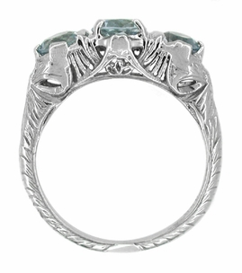 Art Deco Aquamarine Filigree Three Stone Ring in 14 Karat White Gold - Click to enlarge