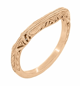 Art Deco Filigree and Wheat Engraved Curved Wedding Ring in 14 Karat Rose Gold - Item WR161R - Image 1