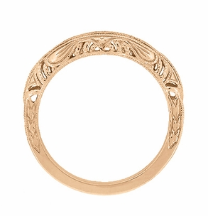 Art Deco Filigree and Wheat Engraved Curved Wedding Ring in 14 Karat Rose Gold - Item WR161R - Image 3