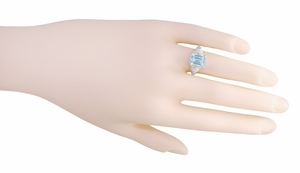 Platinum Filigree Emerald Cut Aquamarine Edwardian Engagement Ring - Item R618P - Image 4