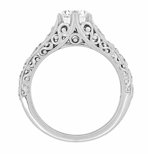 Edwardian Flowing Scrolls Diamond Filigree Heirloom Engagement Ring in 14 Karat White Gold - Item R1196W75D - Image 1