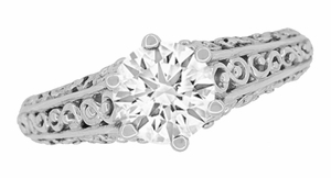 Edwardian Flowing Scrolls Diamond Filigree Heirloom Engagement Ring in 14 Karat White Gold - Item R1196W75D - Image 2