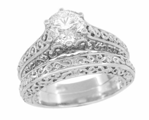 Edwardian Flowing Scrolls Diamond Filigree Heirloom Engagement Ring in 14 Karat White Gold - Click to enlarge
