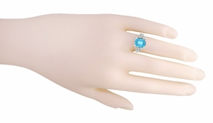 Edwardian Filigree Emerald Cut Swiss Blue Topaz Ring in 14 Karat White Gold - Item R618BT - Image 2