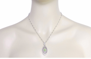 Art Deco Peridot Filigree Oval Pendant Necklace in Sterling Silver - Click to enlarge