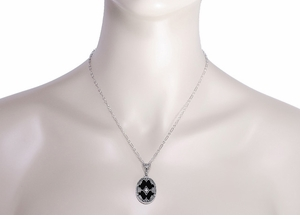 Art Deco Flowers Oval Black Onyx and Diamond Filigree Pendant Necklace in Sterling Silver - Item N154 - Image 3