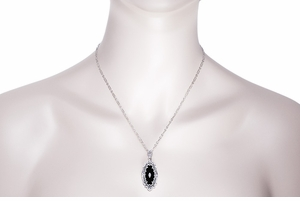 Art Deco Onyx and Diamond Filigree Pendant Necklace in Sterling Silver - Click to enlarge