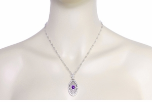 Art Deco Amethyst Filigree Oval Pendant Necklace in Sterling Silver - Item N148AM - Image 3