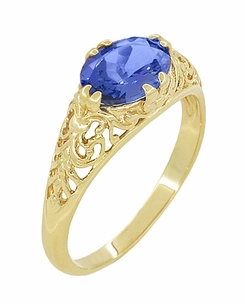 Edwardian Oval Tanzanite Filigree Ring in 14 Karat Yellow Gold - Item R799YTA - Image 1