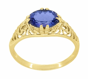 Edwardian Oval Tanzanite Filigree Ring in 14 Karat Yellow Gold - Item R799YTA - Image 2