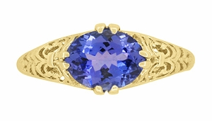 Edwardian Oval Tanzanite Filigree Ring in 14 Karat Yellow Gold - Click to enlarge