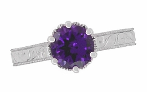 Art Deco Filigree Scroll Engraved Amethyst Crown Promise Ring in Sterling Silver - Item SSR199AM - Image 5