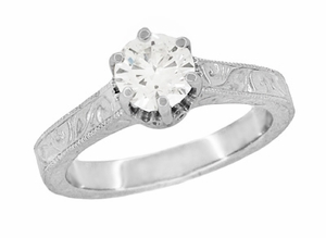 Art Deco Sterling Silver White Topaz Solitaire Ring - Vintage Crown Promise Ring