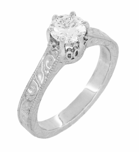Art Deco Crown Filigree Scrolls White Topaz Engagement Ring in Sterling Silver - Click to enlarge