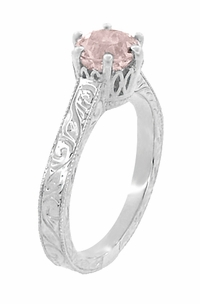 Art Deco Crown Filigree Scrolls 1 Carat Morganite Engraved Engagement Ring in 18 Karat White Gold - Click to enlarge