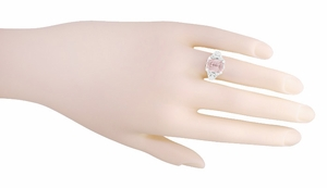 Edwardian Filigree Emerald Cut Morganite Engagement Ring in 14 Karat White Gold - Item R618M - Image 4