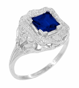 Princess Cut Sapphire Art Nouveau Ring in Sterling Silver - Item SSR615S - Image 1