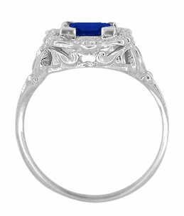 Princess Cut Sapphire Art Nouveau Ring in Sterling Silver - Click to enlarge