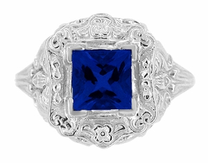 Princess Cut Sapphire Art Nouveau Ring in Sterling Silver - Item SSR615S - Image 4