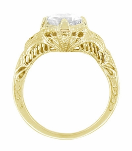 Art Deco White Sapphire Engraved Filigree Engagement Ring in 14 Karat Yellow Gold - Click to enlarge