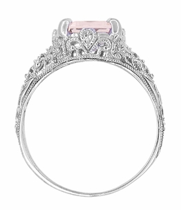 Filigree Emerald Cut Morganite Edwardian Platinum Engagement Ring - Item R618PM - Image 3