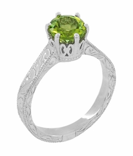 Art Deco Crown Filigree Scrolls Peridot Engagement Ring in Sterling Silver - Item SSR199PER - Image 1