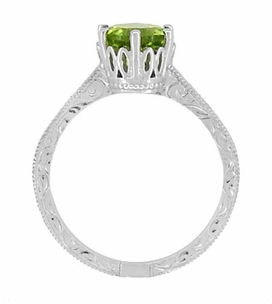 Art Deco Crown Filigree Scrolls Peridot Engagement Ring in Sterling Silver - Item SSR199PER - Image 4