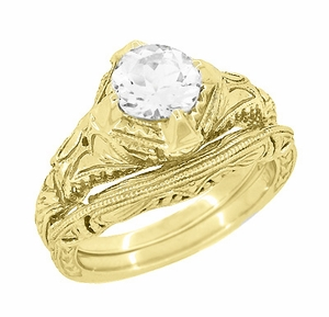 Art Deco White Sapphire Engraved Filigree Engagement Ring in 14 Karat Yellow Gold - Item R161Y75WS - Image 2