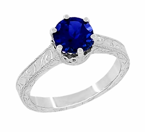 Crown Filigree Scrolls Art Deco Blue Sapphire Engagement Ring in Sterling Silver - Item SSR199S - Image 1