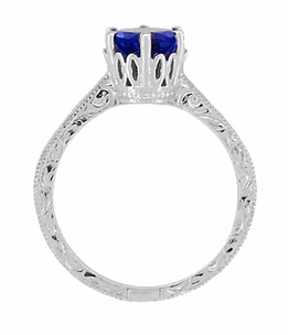 Crown Filigree Scrolls Art Deco Blue Sapphire Engagement Ring in Sterling Silver - Click to enlarge