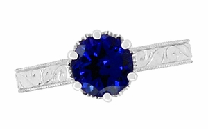 Crown Filigree Scrolls Art Deco Blue Sapphire Engagement Ring in Sterling Silver - Item SSR199S - Image 4