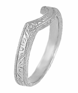 Art Deco Scrolls Engraved Curved Wedding Band in Sterling Silver - Item SSWR199 - Image 1