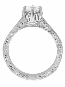 Art Deco Crown Filigree Scrolls Cubic Zirconia Solitaire Ring in Sterling Silver - Item SSR199CZ - Image 3