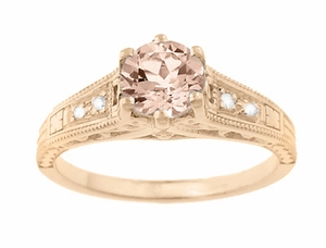 Art Deco Morganite and Diamond Filigree Engagement Ring in 14 Karat Rose ( Pink ) Gold Vintage Design  - Click to enlarge