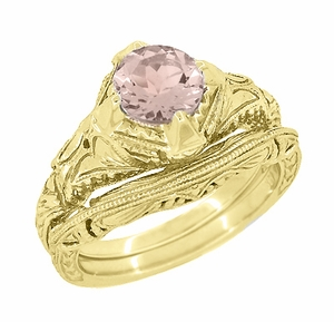 Art Deco Engraved Filigree Morganite Engagement Ring in 14 Karat Yellow Gold - Item R161YM - Image 2