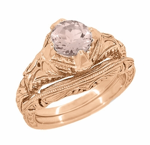 Art Deco Engraved Filigree Morganite Engagement Ring in 14 Karat Rose Gold - Click to enlarge
