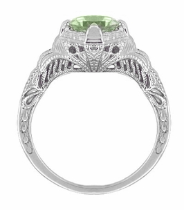 Art Deco Engraved Filigree Green Sapphire Engagement Ring in 14 Karat White Gold - Item R161WGS - Image 1